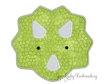 Triceratops Dinosaur Face Applique Embroidered Patch , Sew or Iron on