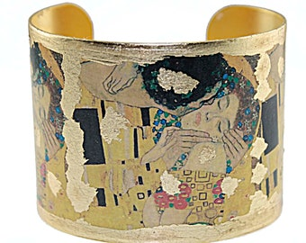 Photo Cuff, Gold Leaf Jewelry, Altered Art Jewelry, Hand Gilded Gold Leaf Klimt The Kiss