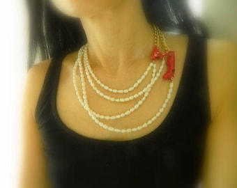 Pearl Bib Necklace multistrand Pearl necklace Collar Multistrand Beaded Choker Asymmetrical Necklace Pearl Anniversary gift for her