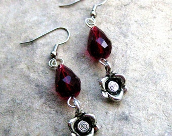 Tiny Roses - Red Crystal Beaded Earrings