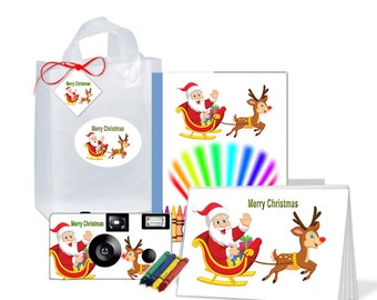 Merry Christmas Gift Bag - full of goodies - photo album, coloring book, crayons, gift tag with ribbon - PERSONALIZE