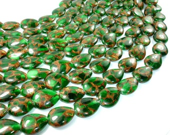 Mosaic Stone Beads, Green, 15x20mm Flat Teardrop Beads, 15.5 Inch. Full strand, 20 beads, Hole 1.5 mm (327143002)