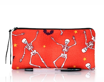Skeleton pencil case, Creepy Makeup pouch, Make up bag, Halloween pouch, Cosmetic case, kids pouch, Zipper bag, Horror bag, Pen holder, Gift