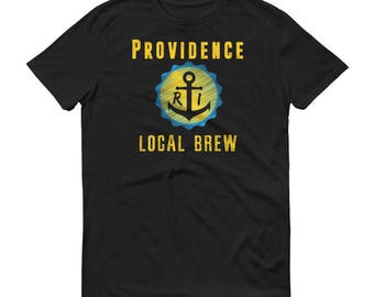 Providence Local Brew Beer T-Shirt - Retro Style Design, Gold & Blue with RI Anchor