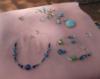 Retro Blue Beaded Wire Necklaces TLC