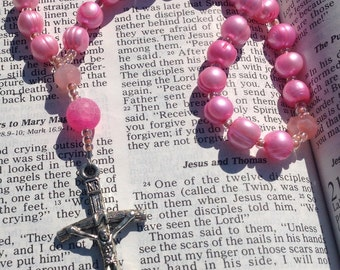 Anglican Rosary  Protestant Prayer Beads  Episcopal Rosary  Christian Prayer Beads Pink Pearl Rosary  Anglican Prayer Beads  Rosary for Her