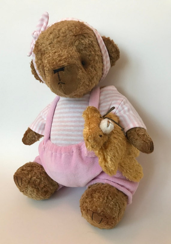 OOAK artist teddy bear TWIN GIRl, handmade item, collectors toy. Growler.