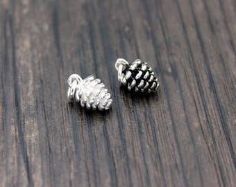 2 Sterling Silver Pine Cone,Sterling Silver Pine Cone Charm,Sterling Silver Pine Cone Pendant, Christmas charm