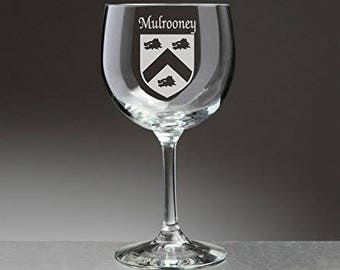 Mulrooney Irish Coat of Arms Red Wine Glasses - Set of 4 (Sand Etched)