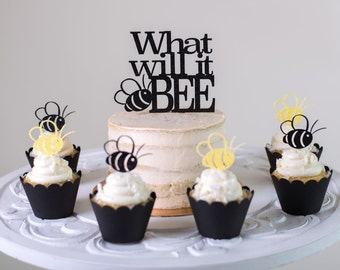 Bee Cupcake Toppers (Set of 12). 'What Will It Bee' Gender Reveal (cake topper is a separate listing)