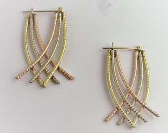 Three Color Drop rope Earrings- 14k Gold