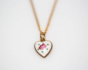Guilloche Rose Heart Necklace