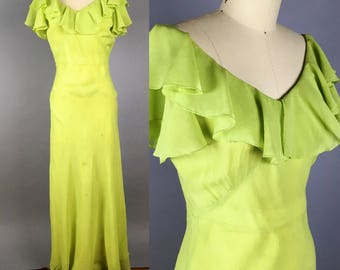 1930s bias cut silk evening gown and slip salvage