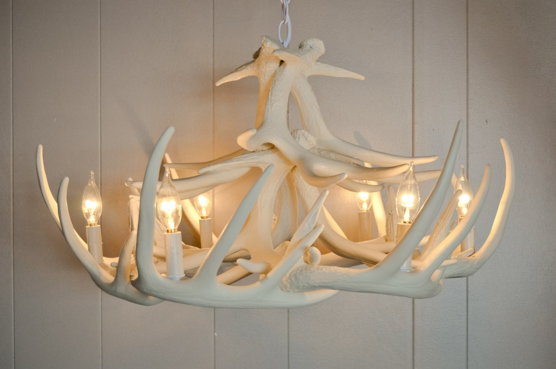 White antler chandelier faux antler chandelier w12 antler zoom arubaitofo Choice Image
