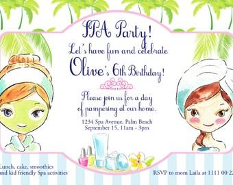 SPA Party Birthday Invitation Design- Printable