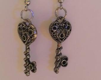 Dangle heart key earrings