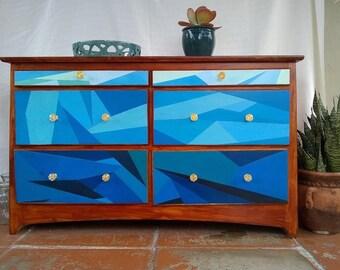 blue dresser