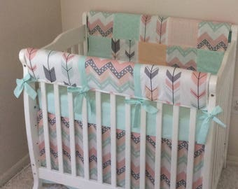 mini crib bedding in teal purple and grey butterflies. Black Bedroom Furniture Sets. Home Design Ideas