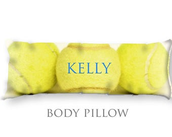 Personalized Tennis Body Pillow-Tennis Bed Pillow-Tennis Body Pillow Cover-Sports Pillow Cover-Tennis Pillow Cover-Customized Bed Pillow