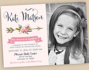 LDS Baptism Invitation Printable, Arrow Baptism Invitation, Personalized Baptism Invitation, Girl Baptism Invitation, DIY Baptism Invite