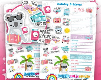 21 Cute Holiday/Vacation/To Do/Checklist Planner Stickers, Filofax, Happy Planner, Erin Condren, Kawaii, Cute Sticker, UK