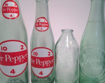 Dr. Pepper bottles, four different, painted 10-2-4,  6oz throw away, soda, pop, bottle collection, vintage bottles, free shipping