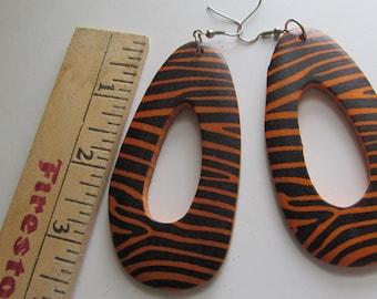 Tiger Print Large Dangle Earrings, Black and Orange Jewelry Orange and Black Jewelry