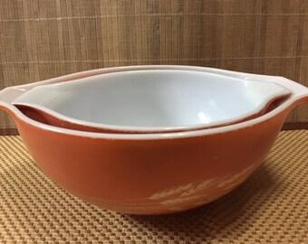 Set of 2 Pyrex Autumn Harvest Cinderella Nesting Bowls