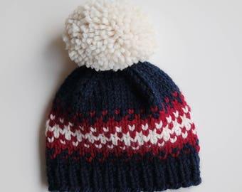 Fair Isle Hat with Pom //  Knit Beanie  // Chunky Knit Hat // Pom Pom Knit Hat