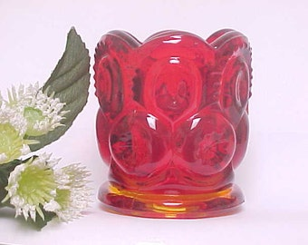 L.E. Smith Red Moon and Stars Toothpick Holder , 1960s Kitchen Glassware, Mid Century Vanity Q Tip Holder, Collectible Glass Home Decor