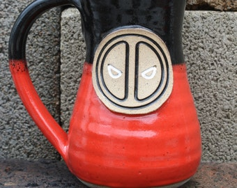 Wheel Thrown Handmade Pottery DeadPool Large Mug 043