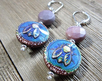 bee earrings - honeybee jewelry - color change - drop earrings - honey bee earrings