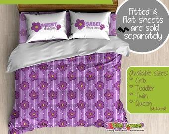 Flower Custom Comforter/Duvet - Kids Comforter - Kids Duvet - Customized Children Bedding - Kids Pillowcase - Flower Bedroom Decor