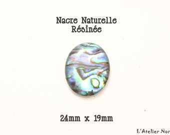 RESINED natural Pearl 24mm x 19mm oval cabochon