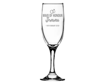 Personalised engraved MAID of HONOUR glass champagne prosecco wine flute glass wedding thank you gift, wedding rings - EFL-RG3