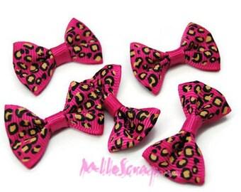 Set of 5 bows leopard fuschia embellishment scrapbooking card making *.