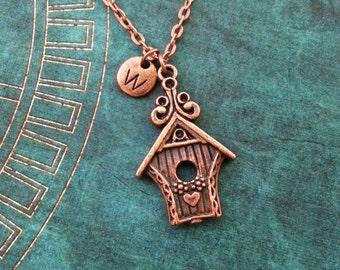 Birdhouse Necklace, SMALL Copper Bird House Necklace, Bird Necklace, Mother's Day Necklace, Gift for Mom, Copper Necklace, Pendant Necklace