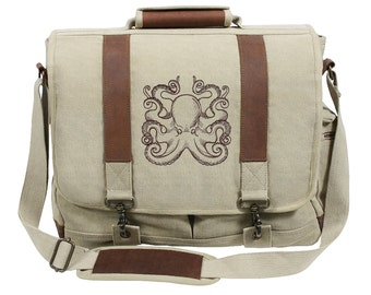 Nauticus - Octopus Embroidered Canvas with Leather Accents Premium Laptop Bag