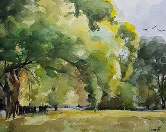 Landscape Painting, Landscape Art, Watercolor Landscape, Tree Painting