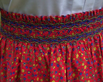 Vintage Handmade Boho Hippie Flower Power Smocked Skirt