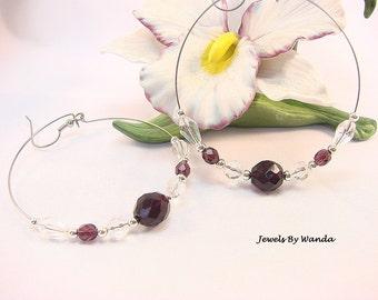 CLEARANCE - amethyst and crystal hoop earrings