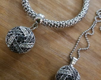 Smoky black hanging charm bracelet with necklace set