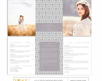 Trifold Wedding Brochure Welcome Guide - DIY Pricing Template - 4.5x5 trifold template - Photography - Marketing - SKU TB002