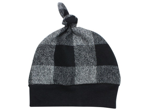 Black Buffalo Plaid Top Knot Beanie Baby Hat Black & Gray Buffalo Check Black Buffalo Plaid Flannel Winter Hat Fall Hat Baby Lumberjack Hat