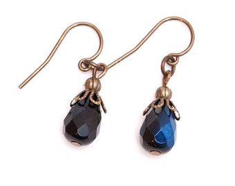Jet AB Crystal Briolette Pierced Earrings