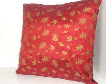 Red Accent Pillow 14x14 Gold Leaves on Red - Holiday Decor-Gift Under 20 - Dorm Decor