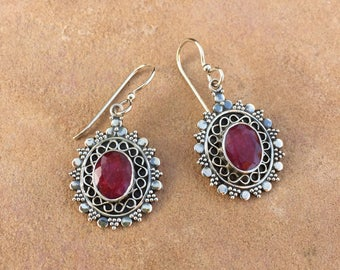 Genuine . Sterling Silver . Natural . Ruby . Earrings