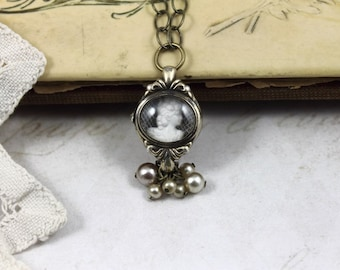 Vintage Assemblage Watch Case Necklace, Shadowbox Watch Case and Cameo Necklace, Cameo and Lace Watch Case Necklace with Pearl Clusters