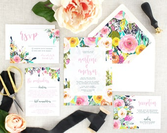 Watercolor Floral Wedding Invitation Suite - Colorful Wedding Invitation Set - Wedding Invitations Printed - Wedding Invites - Set of 10
