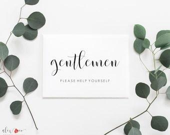 Mens Bathroom Printable. Wedding Bathroom Sign. Gentlemen Sign. Bathroom Wedding Sign. Help Yourself Sign. Wedding Restroom Sign.